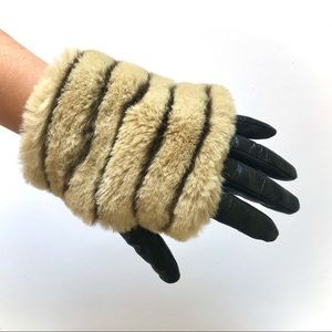Anthropologie Faux Fur Leather Gloves